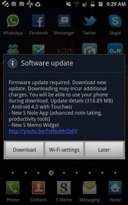 Ice Cream Sandwich Begins to Appear in the Galaxy Note