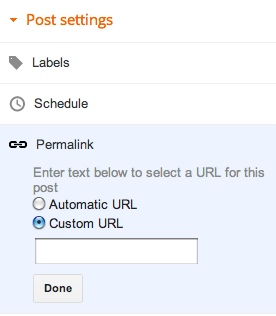 Customize your posts with permalinks Customization of Posts Link In Blogger Dashboard