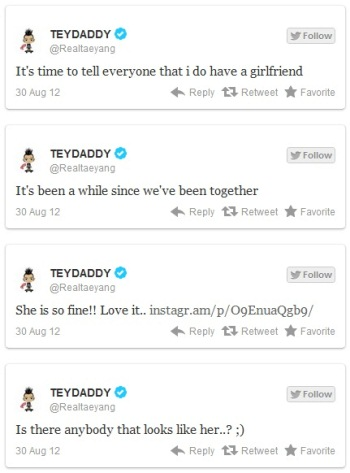 Introducing The Big Bang Taeyang Girlfriend twitter The Big Bang Introducing His Girlfriend Taeyang