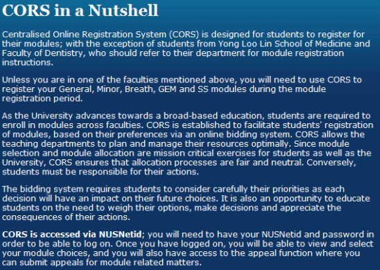 NUS Centralised Online Registration System  CORS