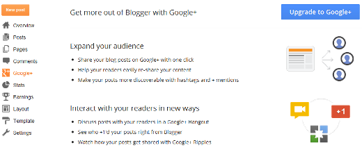 New Feature Google+ Tab in Blogger Dashboard New Feature Google+ Tab in Blogger Dashboard