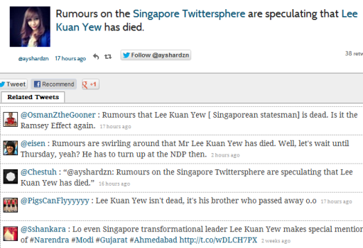 lky died twitter Lee Kuan Yew Passed Away