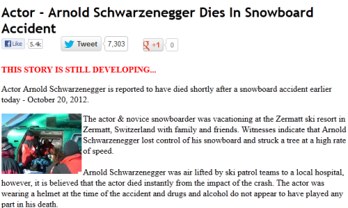 Arnold Schwarzenegger Dies In Snowboard Accident Arnold Schwarzenegger Dies In Snowboard Accident Dead Hoax