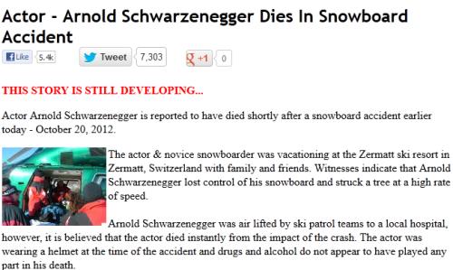 Arnold Schwarzenegger Dies In Snowboard Accident
