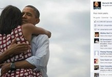 Picture of Obama Hugging his Wife on Facebook and Twitter Makes History