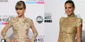 Taylor Swift and Heidi Klum Golden Dress Duel