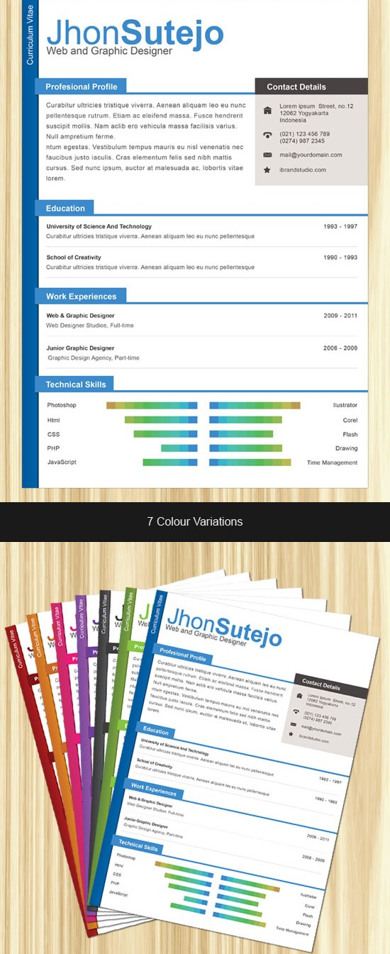 free onepage professional cv resume psd template