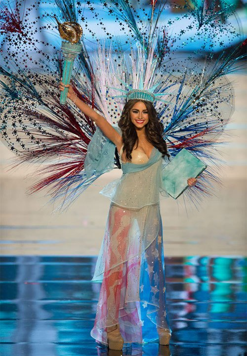 Olivia Culpo performing national costume at Miss Universe 2012
