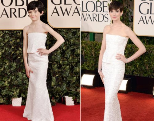 Anne Hathaway and lovely copy The Child Models Dressed As Hollywood Stars At Golden Globe