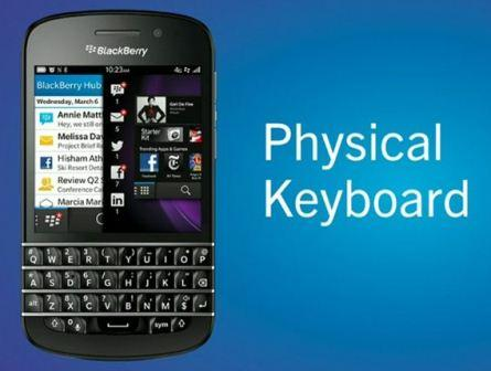 BlackBerry Q10 with physical keyboard