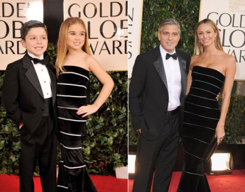 George Clooney and Stacy Keibler The Child Models Dressed As Hollywood Stars At Golden Globe