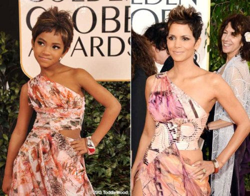 Halle Berry The Child Models Dressed As Hollywood Stars At Golden Globe