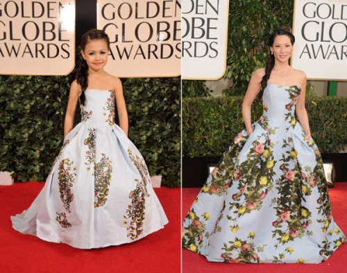 Lucy Liu and copy tiny The Child Models Dressed As Hollywood Stars At Golden Globe