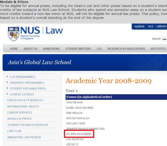 Darinne Ko NUS Law Scandal Student Girl