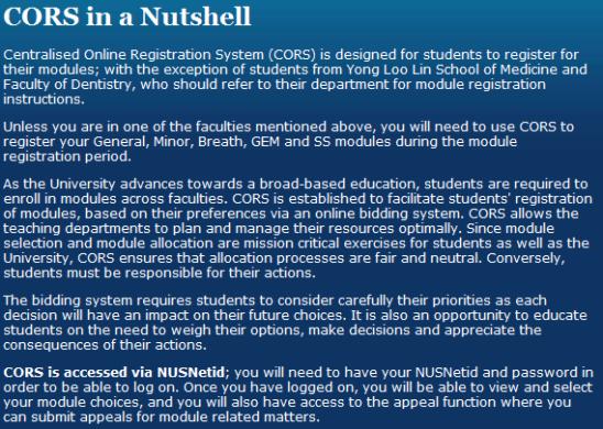 NUS Centralised Online Registration System  CORS