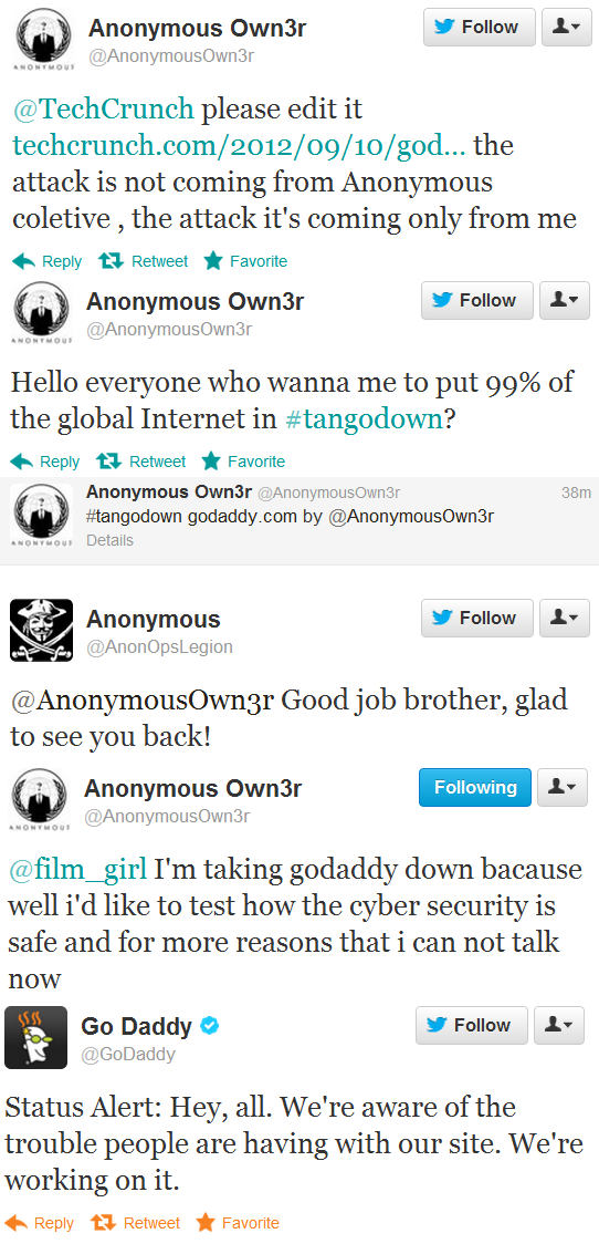 GoDaddy Site Down Anonymous Claims