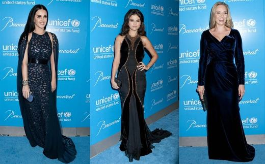 Selena Gomez Katy Perry And Uma Thurman Lace Dress At UNICEF Gala