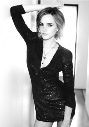 Emma Watson In Black Glitter Mini Dress