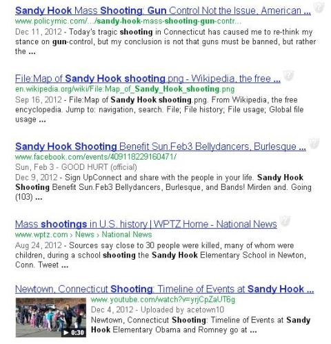 Google search result sandy hook shooting