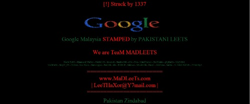 Google Hacked in Malaysia