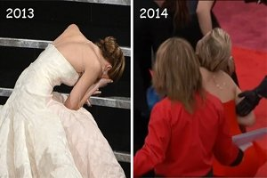 Oscars 2014 Jennifer Lawrence Falls Again
